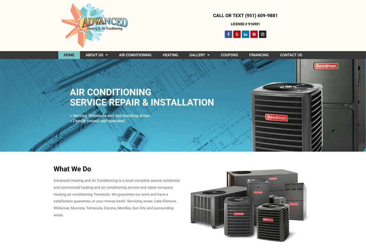 California web design and website development for a HVAC Heating and Air Conditioning company