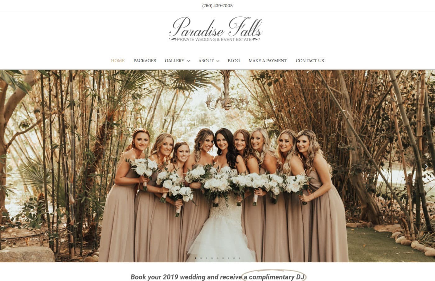 California web design and website development for a wedding venue Paradise Falls Weddings in Oceanside CA