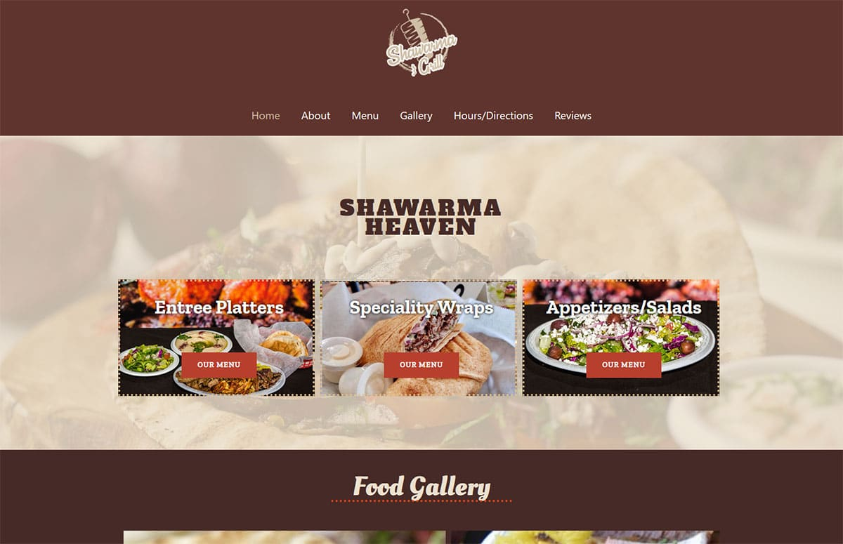 California web design and website development for a restaurant called The Shawarma Grill