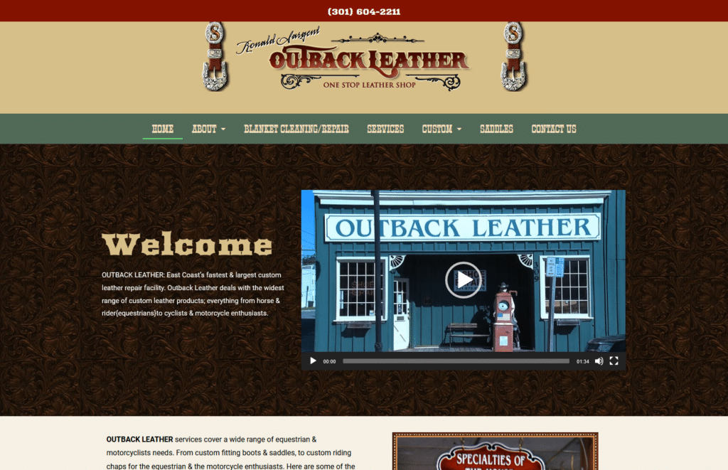 Outback Leather website developed by CP Communications