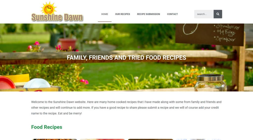 Sunshine Dawn food recipe website
