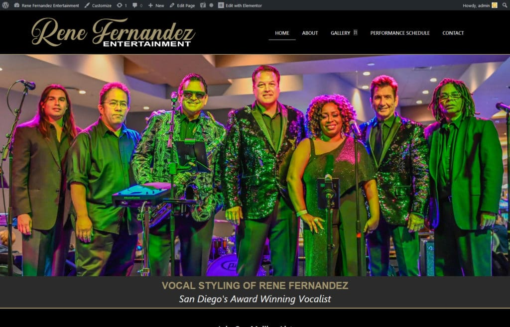 Rene Fernandez Entertainment musicians website developer